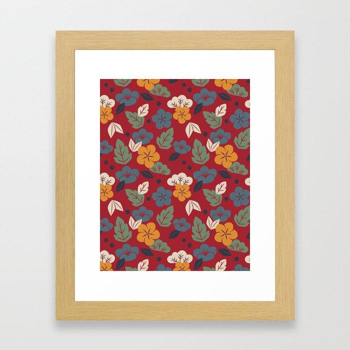 Retro autumn floral pattern Framed Art Print