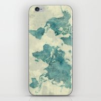 vintage map iPhone & iPod Skins featuring World Map Blue Vintage by City Art Posters