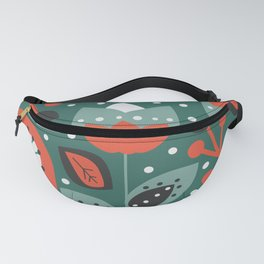 Retro flowers and snow Fanny Pack