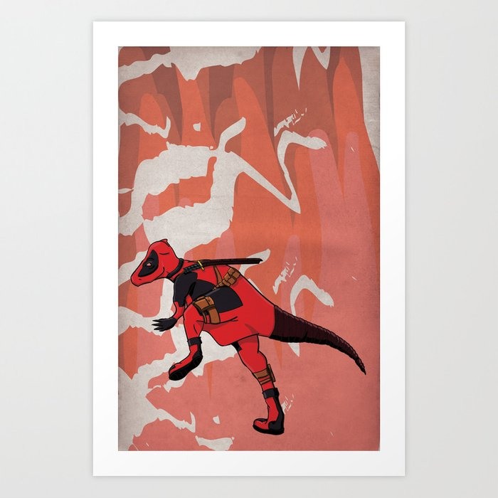 Deadpachycepoolosaurus - Superhero Dinosaurs Series Art Print