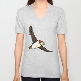 Puffin Wearing A Hat Unisex V-Neck