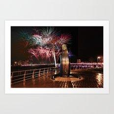 Fireworks at Swansea SA1 Art Print