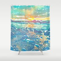 michigan Shower Curtains featuring Lake Michigan by Acacia Alaska