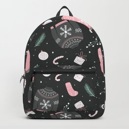 Christmas sweater pattern gray Backpack