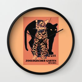 Retro vintage Munich Zoo big cats Wall Clock