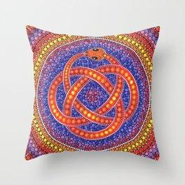 Red Celtic Snake Throw Pillow