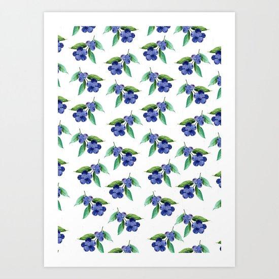 Blueberries Stripes Art Print