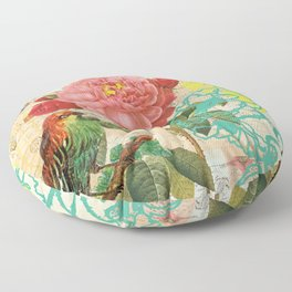 A rose with a bird and a butterfly Floor Pillow