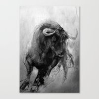 bull Canvas Prints featuring BULL by MikakoskArts