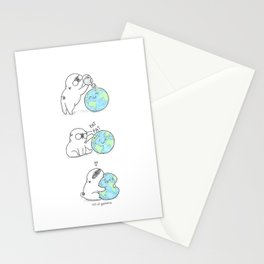 Mochi the pug celebrating Earth day Stationery Cards