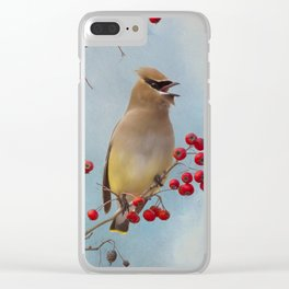 Cedar Waxwing Pair Clear iPhone Case