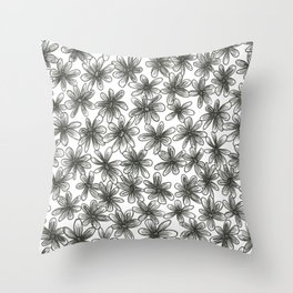 Black Daisy Pattern Throw Pillow