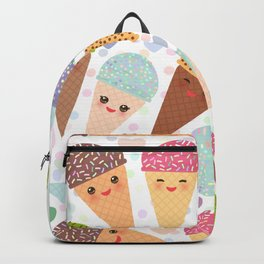 Kawaii funny Ice cream waffle cone, with pink cheeks and winking eyes Backpack