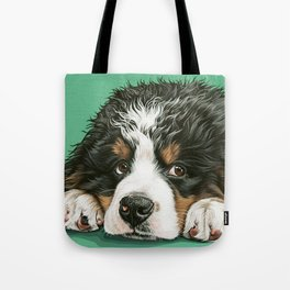 Cute Bernese Mountain Dog Puppy Pet Portrait Tote Bag