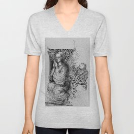 woman with apple Unisex V-Neck