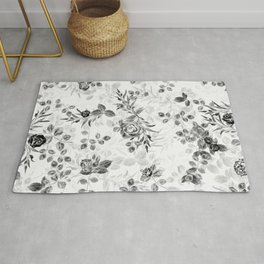 Classic Minimal Floral Watercolor Rose Pattern Rug
