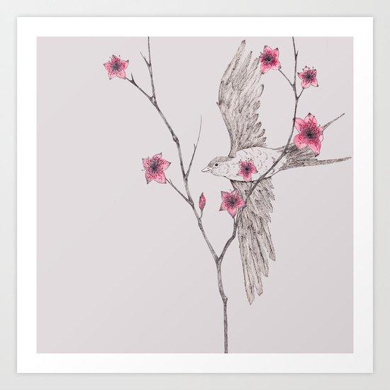 Flying Through The Blossom Art Print