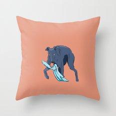 Greyhound catches the rabbit Throw Pillow