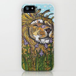 Lion in Lavender Painting iPhone Case