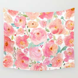 Watercolor Peonies Summer Bouquet Wall Tapestry