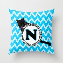 Letter N Cat Monogram Throw Pillow