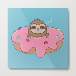 Kawaii Cute Sloth Donut Metal Print