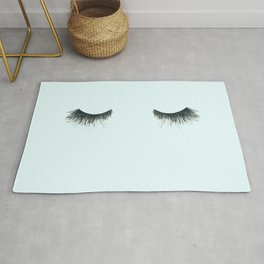 Dramatic dreaming in blue  \\ lashes, closed eyes, sleeping design for bedroom Rug