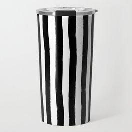 Black and White Cabana Stripes Palm Beach Preppy Travel Mug