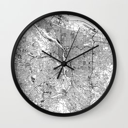 Portland White Map Wall Clock