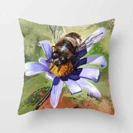 Bee on flower 18 Throw Pillow
