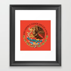 Mexican National Coat of Arms & Seal on Adobe Red Framed Art Print