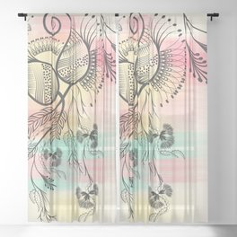 Decorative Floral Sheer Curtain