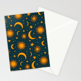 Vintage Sun and Star Print in Navy Stationery Cards