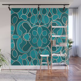 Modern Artsy Ocean Blue Rose Gold Geometric Wall Mural