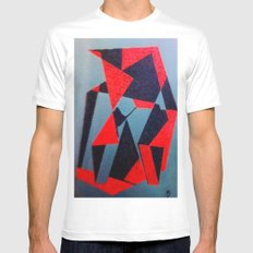 Red and Black Mens Fitted Tee White MEDIUM