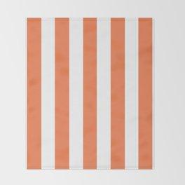 Mandarin orange - solid color - white vertical lines pattern Throw Blanket
