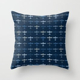 Blue airplane pattern Throw Pillow