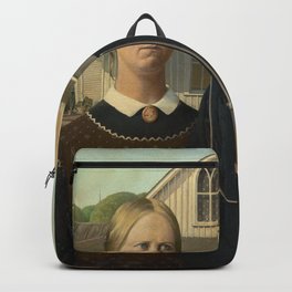 American Gothic Oil Painting by Grant Wood Backpack