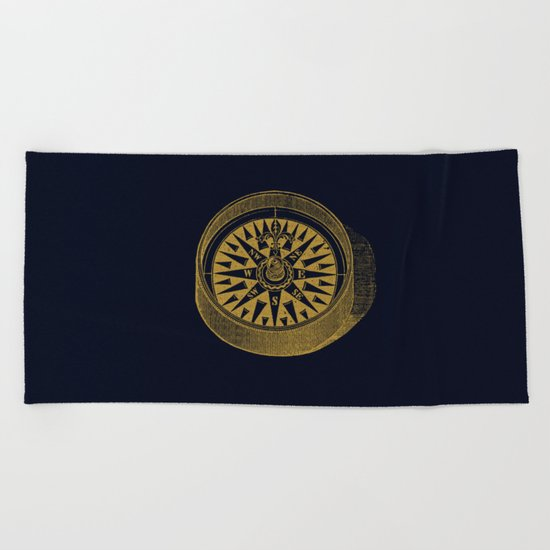 The golden compass I- maritime print with gold ornament Beach Towel