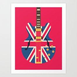 Union Jack Flag Britpop Guitar - Crimson Art Print