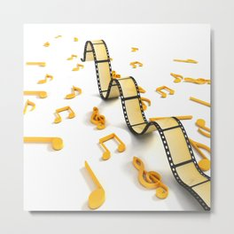 isolated three dimensional negative roll musical notes movie Metal Print
