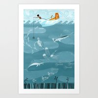 fishing Art Prints featuring Fishing by Erik Krenz
