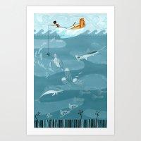 fishing Art Prints featuring Fishing by Erik Krenz