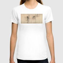 Pine Trees Six-Fold Azuchi-Momoyama Period Japanese Screen - Hasegawa Tohaku T-shirt