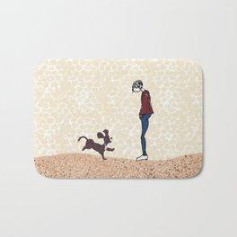 Boy and his dog Bath Mat