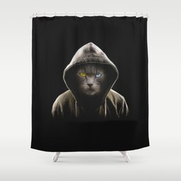 Cool Black Cat Hooded Pullover Shower Curtain