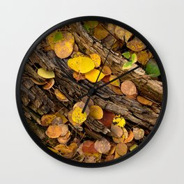 Log & Fall Leaves Wall Clock
