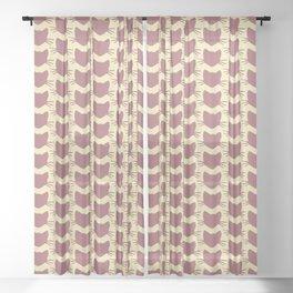 Pink, Tan, and Kitty Sheer Curtain