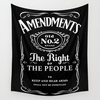 whiskey Wall Tapestries featuring 2nd Amendment Whiskey Bottle by Anti Liberal Art