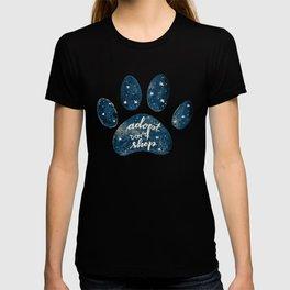 Adopt don't shop galaxy paw - blue T-shirt